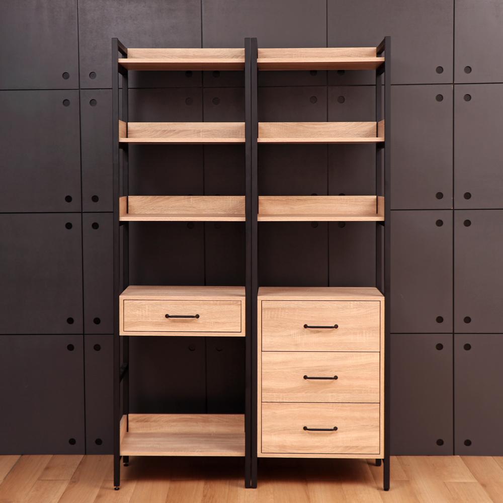 D&T德泰傢俱格萊斯原切木輕工業風三抽展示架+中抽展示架-120x43.8x196cm