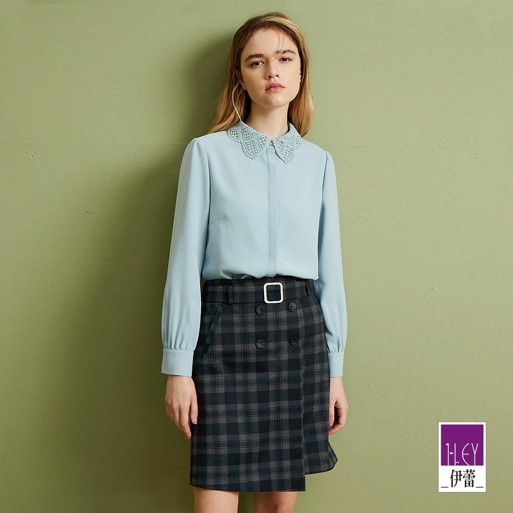ILEY伊蕾 摩登復古排扣格紋窄裙(藍)