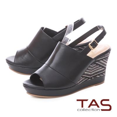 TAS 寬版縫線厚底刺繡楔型涼鞋-經典黑