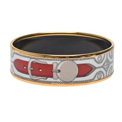 HERMES Caleche經典皮帶圖騰琺瑯中版手環(金)