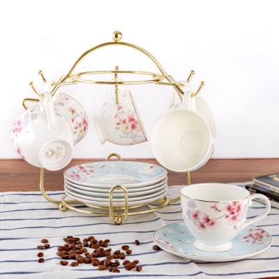 Royal Duke 梅花骨瓷咖啡杯6杯碟組附杯架
