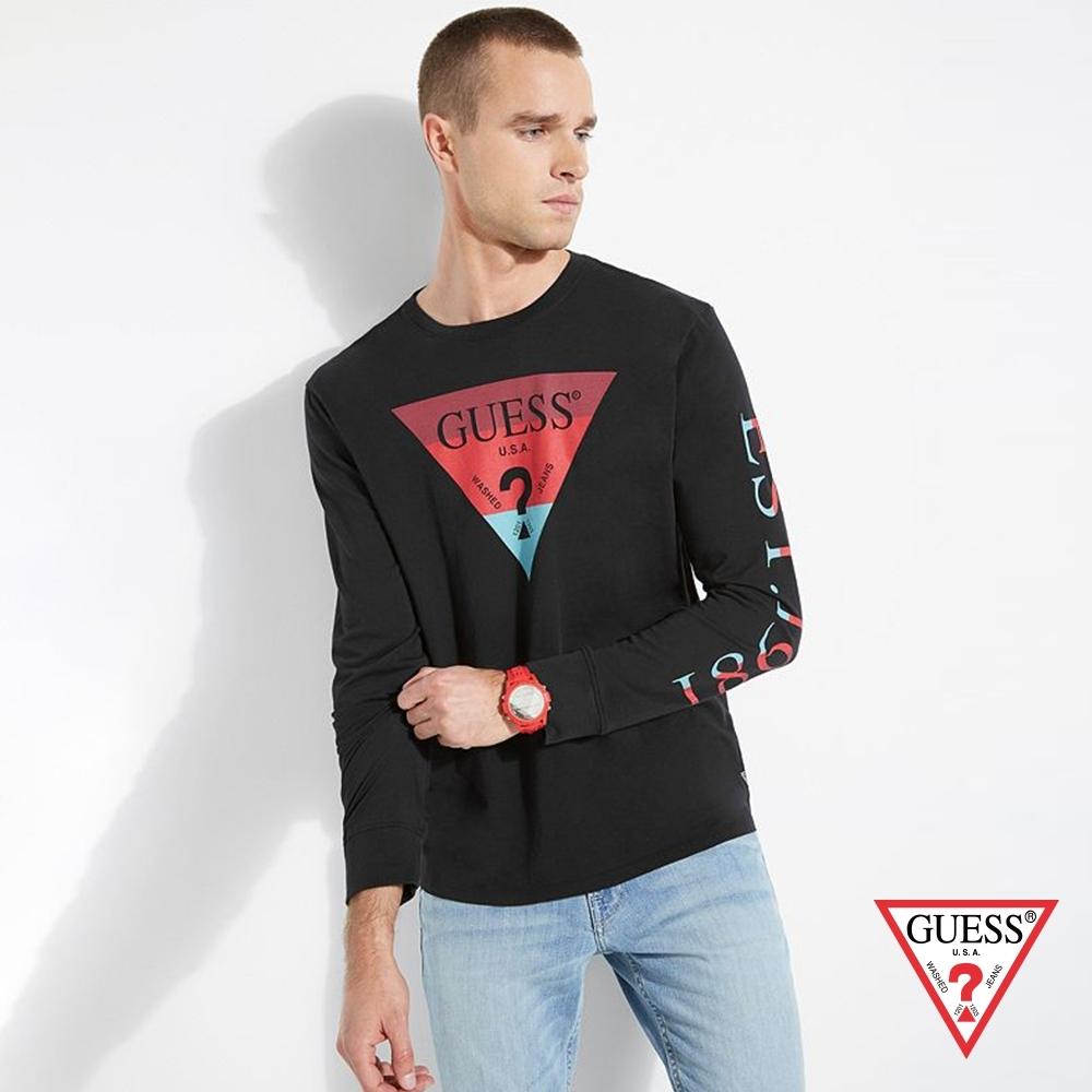 GUESS-男裝-美式撞色倒三角LOGO長袖T恤-黑 原價1290
