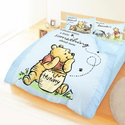 享夢城堡 雙人加大床包兩用被套四件組-迪士尼小熊維尼Pooh 蜂蜜小事-米黃.藍