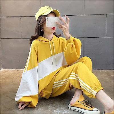 DABI 韓系百搭拼色連帽薄款寬鬆單品長袖上衣