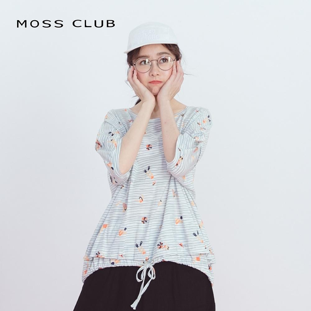 【MOSS CLUB】落肩可愛插圖綁帶下襬造型-上衣(三色)