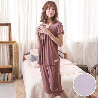 華歌爾睡衣-冰涼 L-2L素面短袖家居褲裝(淺紫)冰涼感紗