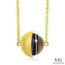 點睛品 G系列 時尚單顆半圓形瑪瑙純金項鍊