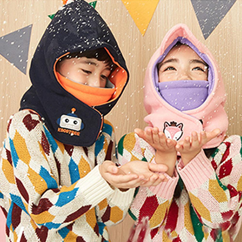 EHD 韓風兒童多戴法連帽超保暖頭套圍脖帽口罩可拆(4色任選)