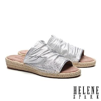 拖鞋 HELENE SPARK 簡約抓皺羊皮造型草編厚底拖鞋-銀