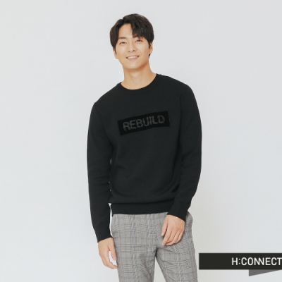 H:CONNECT 韓國品牌 男裝-特色標語針織上衣-黑(快)