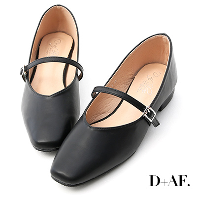 D+AF 好感女孩.素面方頭低跟瑪莉珍鞋*黑