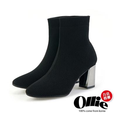 Aviator韓國空運-針織襪套三色高跟中筒靴-ollie預購