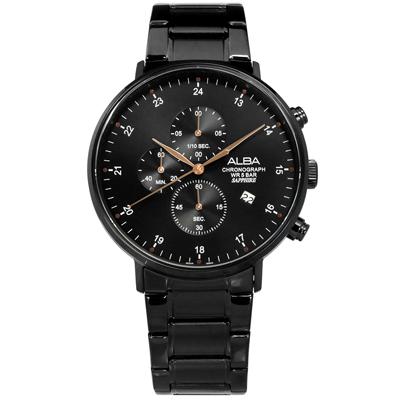 ALBA 競速三眼藍寶石水晶玻璃計時日期不鏽鋼手錶-鍍黑/44mm