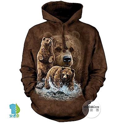 摩達客 美國The Mountain 尋十棕熊 中性套頭長袖連帽T恤