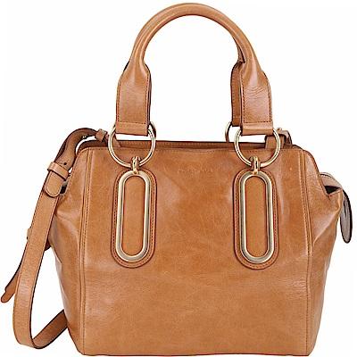 SEE BY CHLOE Paige 中型 仿舊牛皮金屬環設計兩用提包(棕色) @ Y!購物