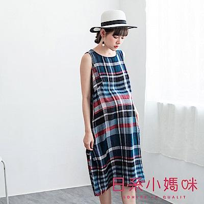 日系小媽咪孕婦裝-自然系彩色格子無袖棉麻洋裝