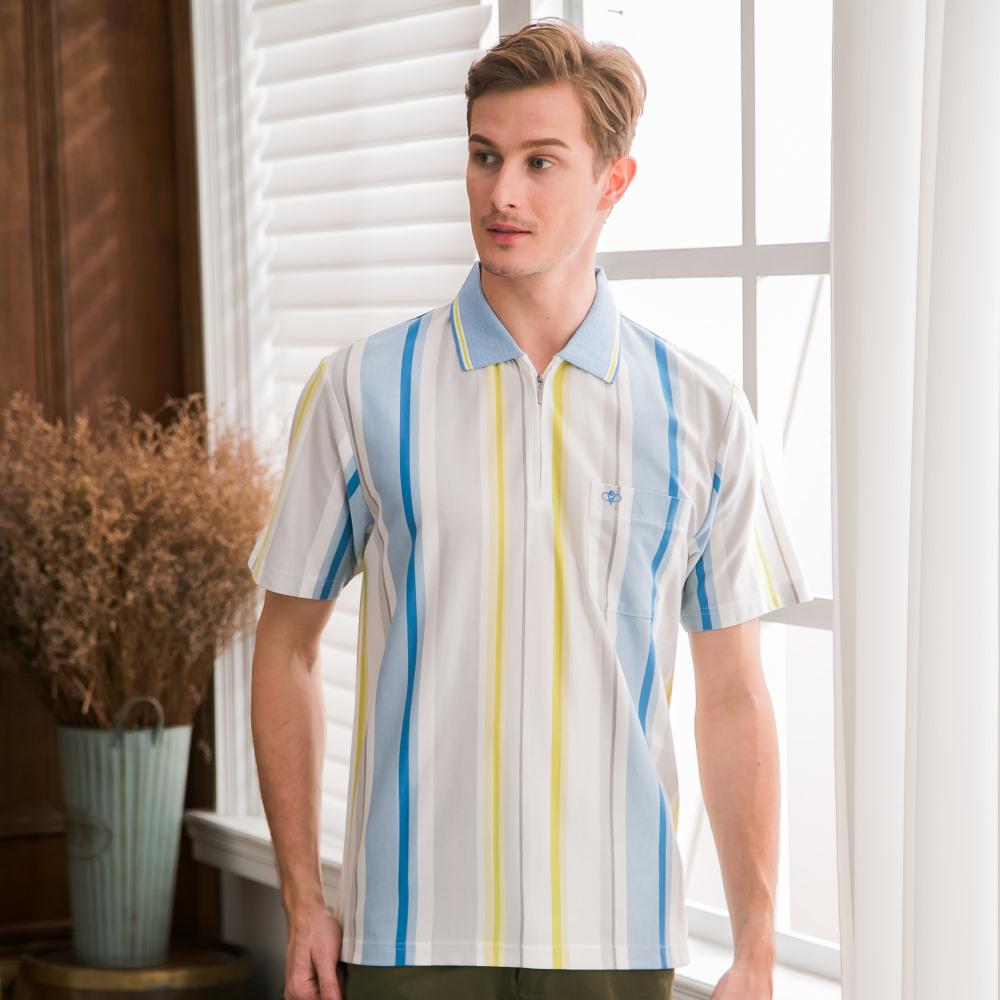 PAUL MAURIAT波爾.瑪亞吸溼排汗短袖POLO衫-藍綠直條