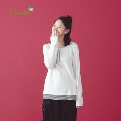 【Dailo】熊貓拼接條紋長袖-上衣(三色)