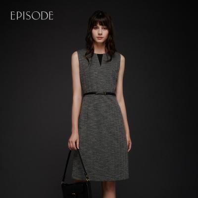 EPISODE - 簡約知性圓領摺線腰帶無袖洋裝