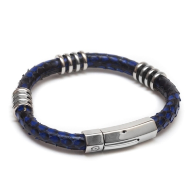 ZENGER北美蟒蛇手工皮環-藍
