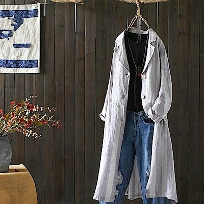 寬鬆條紋西裝外套亞麻長版外搭/設計所在Y4848
