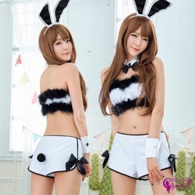 Sexy Cynthia 角色扮演 時尚黑白配兔女郎角色扮演服八件組-白F