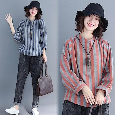 文藝豎條紋上衣-共2色(L/XL可選)    NUMI  森