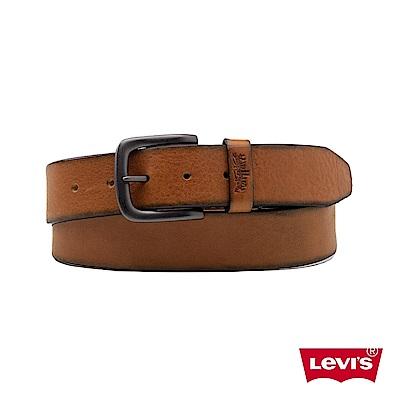 Levis 男款 皮帶 質感金屬釦 經典雙馬壓紋皮環 棕