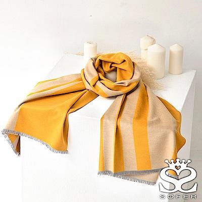 SOFER雙色素面100%蠶絲披肩-黃