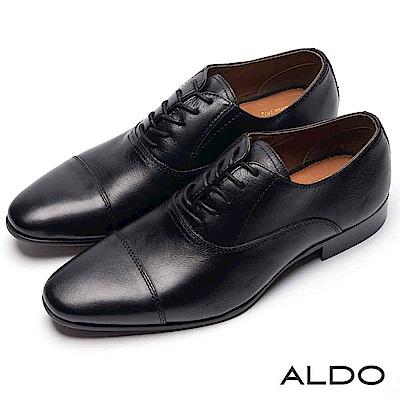 ALDO 原色真皮鞋面綁帶式木紋粗跟男尖頭皮鞋~尊爵黑色