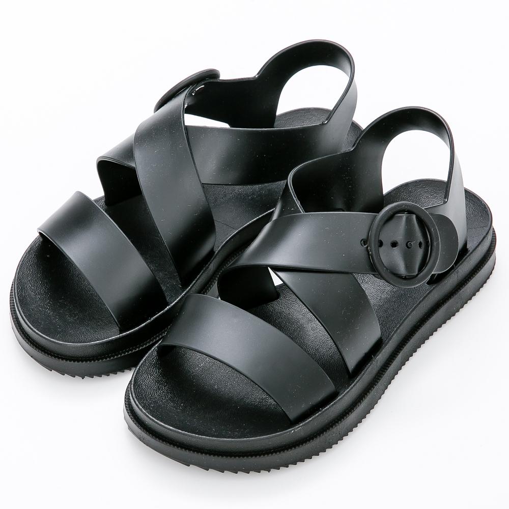 River&Moon防水鞋-率性寬版扣帶厚底羅馬涼鞋-黑