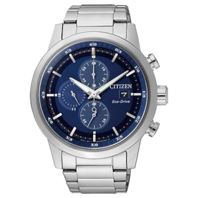 CITIZEN 星辰GENTS光動能簡約三眼計時腕錶-藍43mm(CA0610-52L)