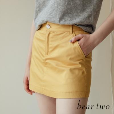beartwo- 高含棉素色挺版短褲-兩色
