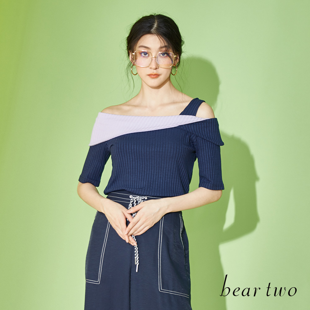 beartwo雙色拼接露肩上衣(藍色)