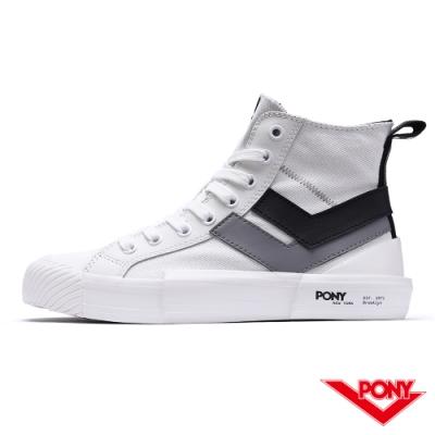 【PONY】Shooter系列高筒帆布鞋-女款-雙勾白-03W1SH12RW