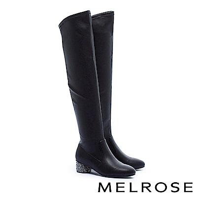 長靴 MELROSE 都市時尚金屬質感鑲鑽彈力皮革過膝低跟長靴-黑