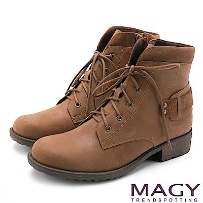 MAGY 街頭率性簡約 嚴選牛皮帥氣綁帶短靴-棕色
