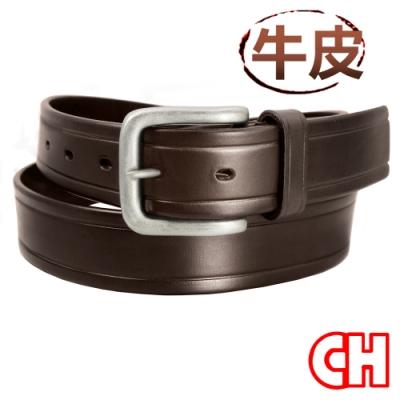 CH-BELT壓線設計牛皮素材休閒中性皮帶腰帶(咖)