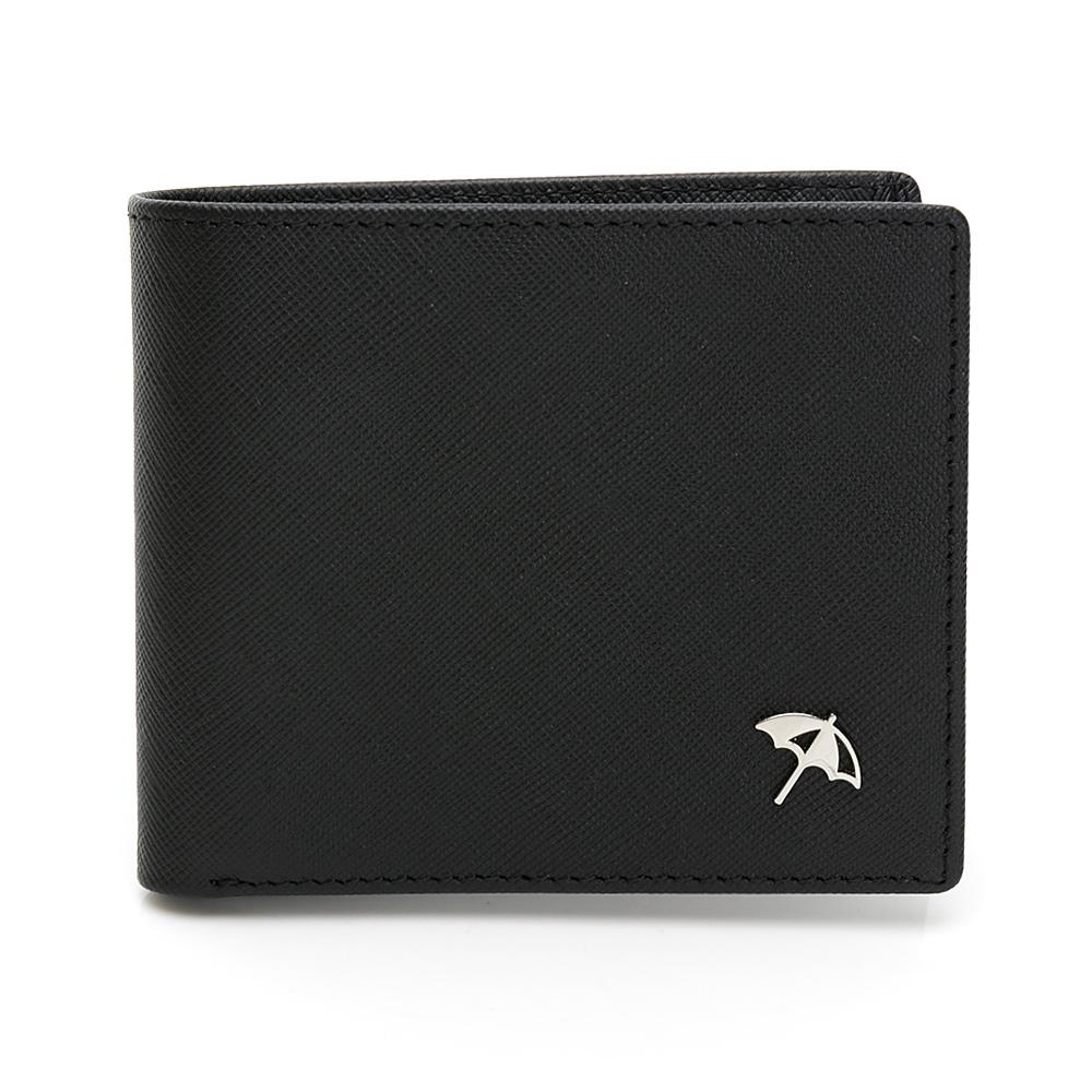 Arnold Palmer- 中翻短夾  十字紋皮夾系列-黑色