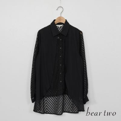 beartwo-微透薄紗造型襯衫-黑