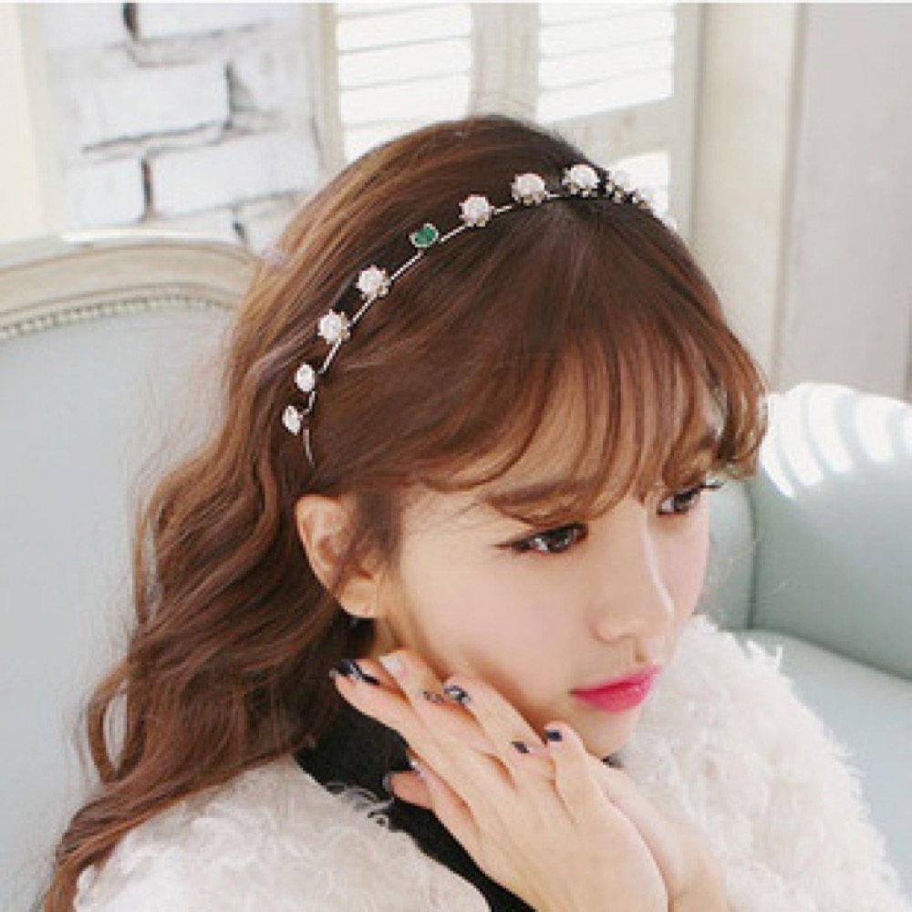 【89 zone】韓版簡約復古珍珠細髮飾/髮箍 1 入 (銀色)