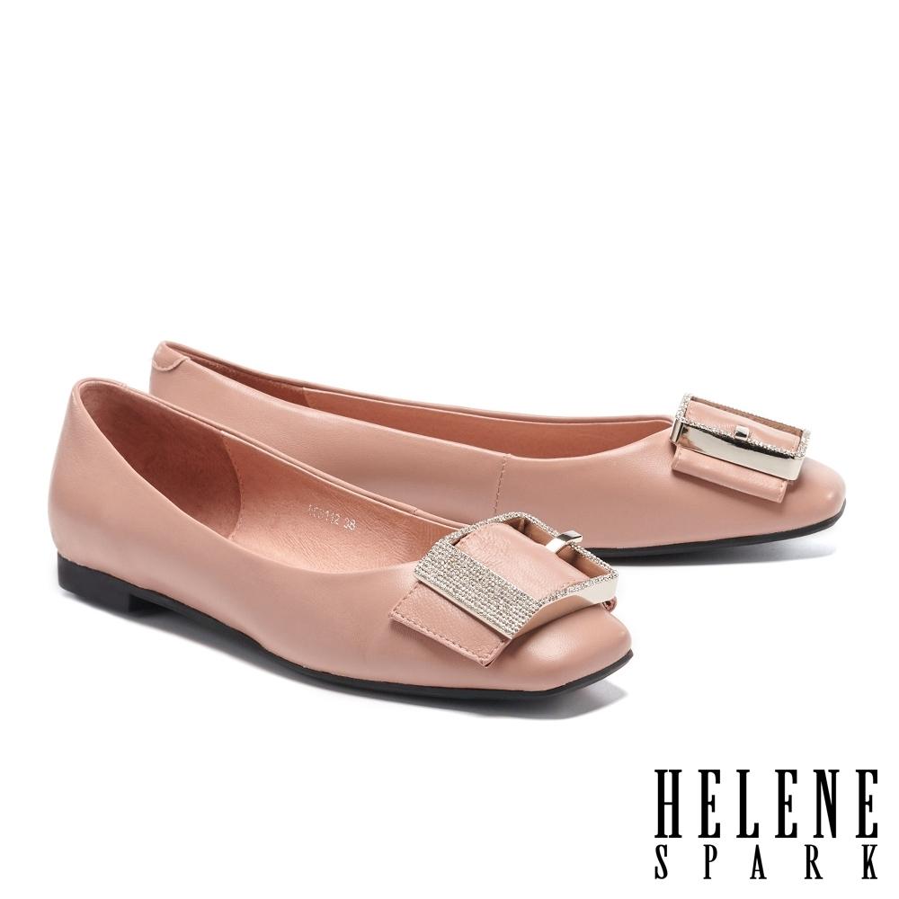 平底鞋 HELENE SPARK 輕熟典雅白鑽方飾釦全真皮平底鞋-粉