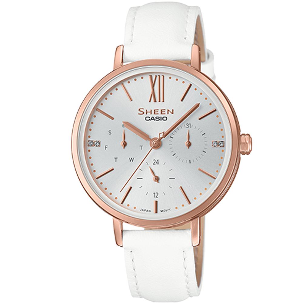 SHEEN粉嫩色系簡約風格多重指針皮帶腕錶(SHE-3064PGL-7)蜜桃金X白34mm @ Y!購物