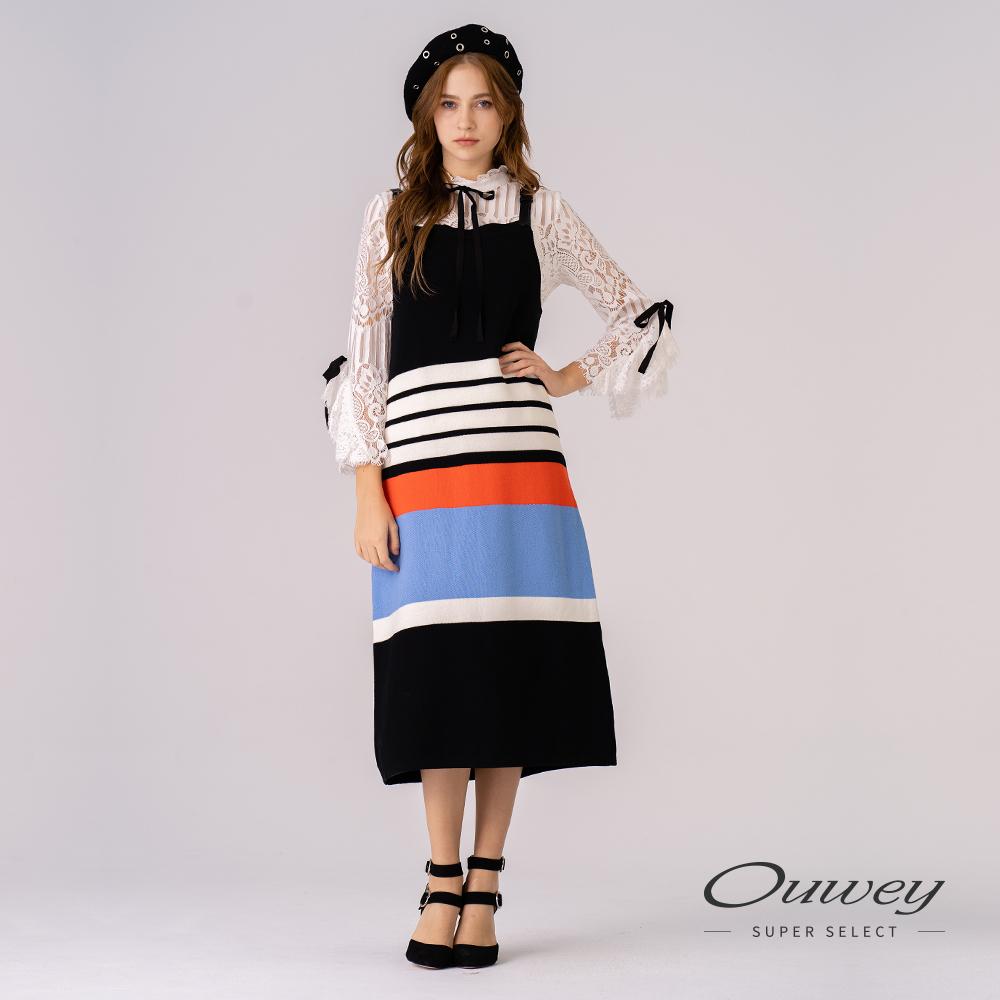 OUWEY歐薇 含棉條紋撞色針織背心洋裝(黑)