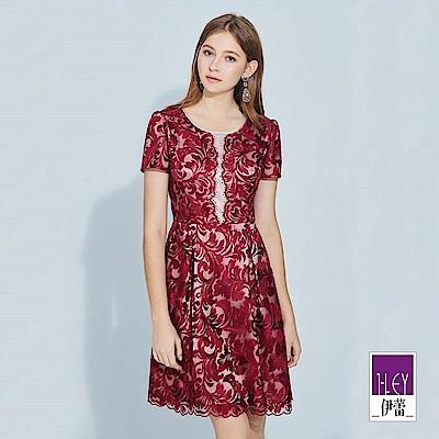 ILEY伊蕾 巴洛克花紋刺繡剪接短袖洋裝(紅)