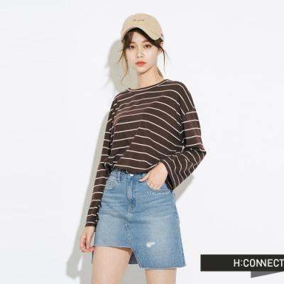 H:CONNECT 韓國品牌 女裝-圓領細條紋上衣-咖啡色