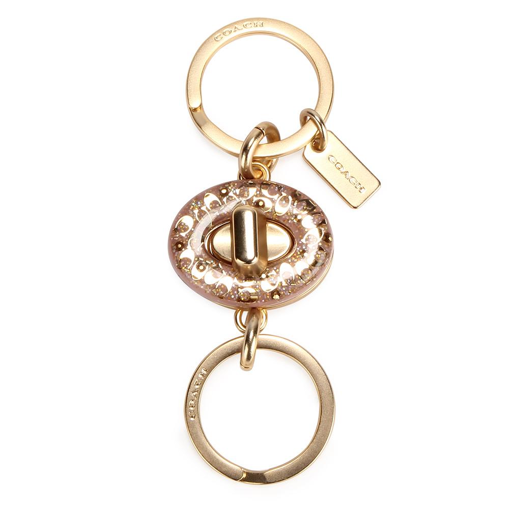 COACH 經典C LOGO樹脂橢圓旋扣式雙鑰匙圈(可拆)-粉紅色