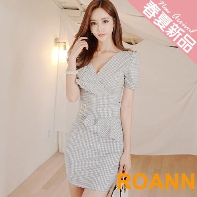 OL風拼接格紋兩件式裙套裝 (格紋)-ROANN