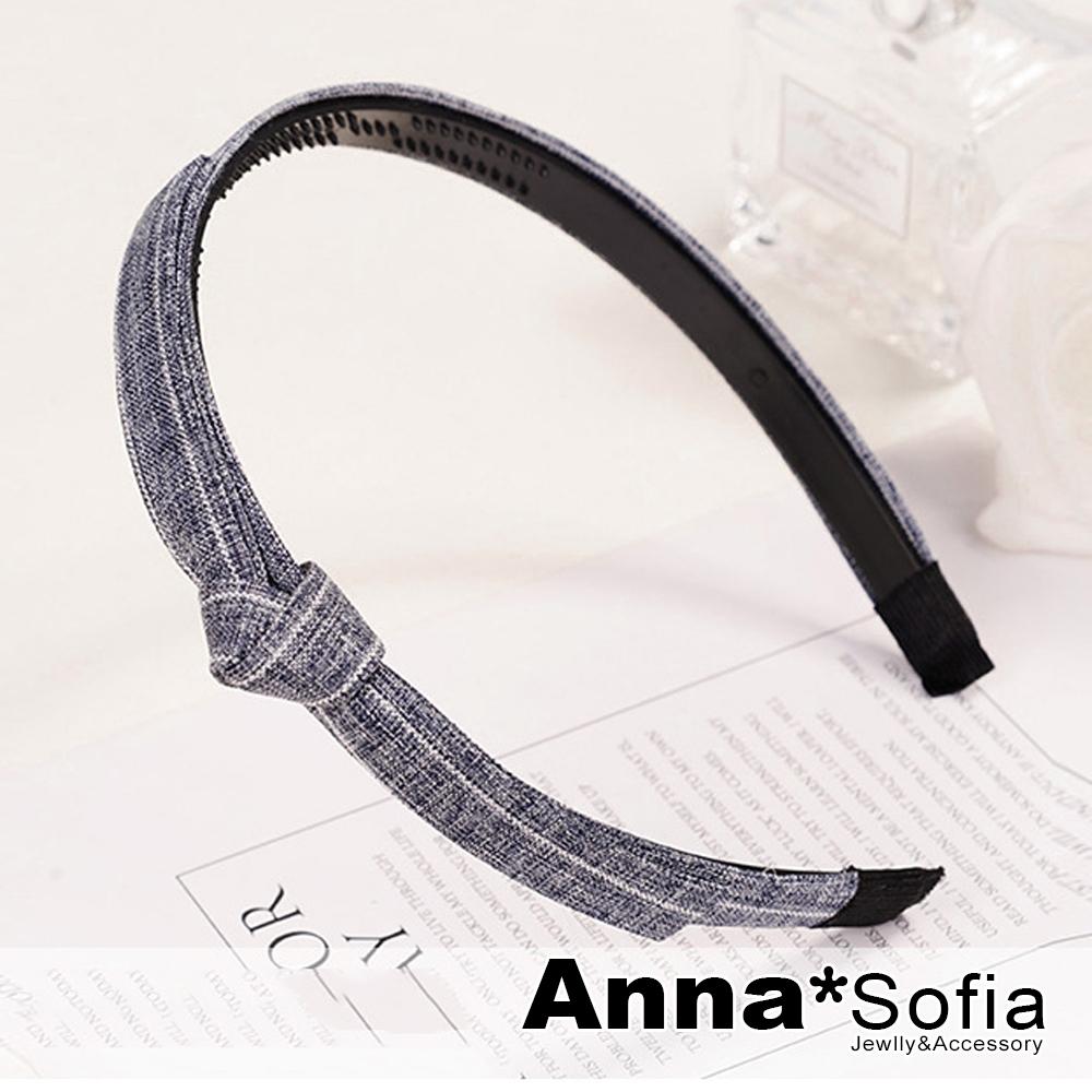 【2件7折】AnnaSofia 文藝側綁長結 韓式東大門髮飾髮箍(藍系)