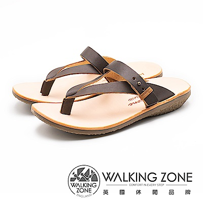 WALKING ZONE 質感真皮夾腳套腳拖鞋 女鞋 - 咖(另有藍)